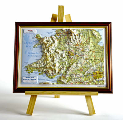 Wales and Central England Raised Relief Map: Dark Wood Frame - Raised Relief Maps Series (Sheet map)