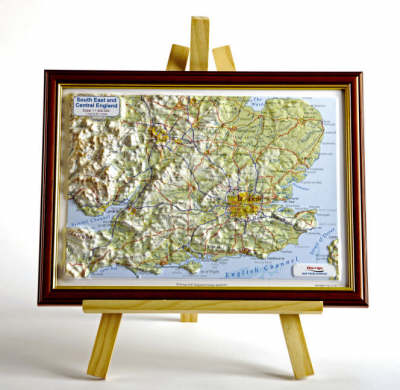 South East England Raised Relief Map: Dark Wood Frame - Raised Relief Maps Series (Sheet map)