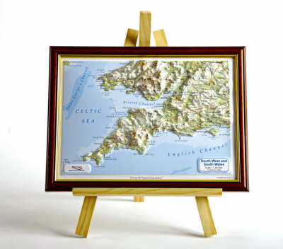 South West England Raised Relief Map: Dark Wood Frame - Raised Relief Maps Series (Sheet map)