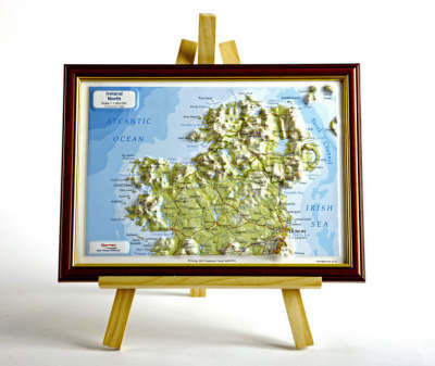 Ireland North Raised Relief Map: Light Wood Frame - Raised Relief Maps Series (Sheet map)