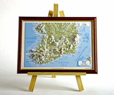 Ireland South Raised Relief Map: Dark Wood Frame - Raised Relief Maps Series (Sheet map)