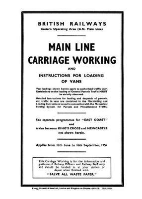 BR ER Great Northern Main Line Carriage Working, June - Sept 1956 (Paperback)