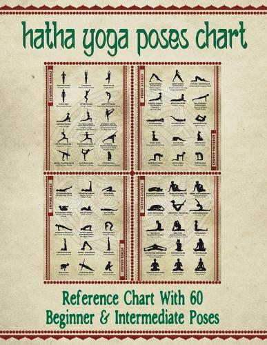 """Hatha Yoga Poses Chart: 60 Common Yoga Poses and Their Names - A Reference Guide to Yoga Asanas (Postures) -- 8.5 X 11"""" Full-Color 4-Panel Pamphlet (Paperback)"""