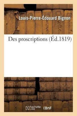 Des Proscriptions (Paperback)