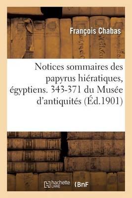 Notices Sommaires Des Papyrus Hi�ratiques, �gyptiens. 343-371 Du Mus�e d'Antiquit�s - Histoire (Paperback)