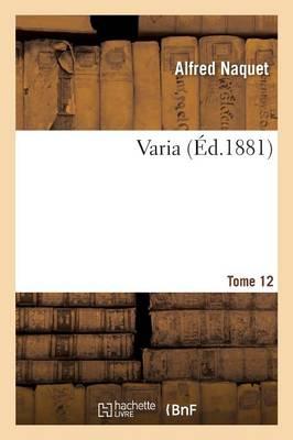 Varia Tome 12 - Sciences Sociales (Paperback)