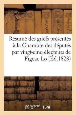 R�sum� Des Griefs Pr�sent�s � La Chambre Des D�put�s Par Vingt-Cinq �lecteurs de Figeac Lo - Histoire (Paperback)