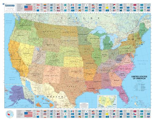 USA Political Laminated Wall Map - Michelin Encapsulated Wall Maps 5761 (Sheet map, rolled)
