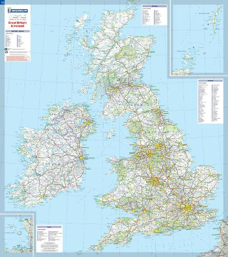 Map Of Uk And Ireland With Cities.Great Britain Ireland Michelin Rolled Tubed Wall Map Encapsulated Wall Map Michelin Wall Maps Sheet Map