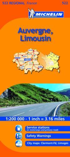 Auvergne, Limousin - Michelin Regional Maps No. 522 (Sheet map, folded)