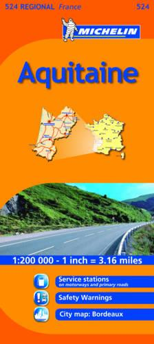 Aquitaine - Michelin Regional Maps No. 524 (Sheet map, folded)