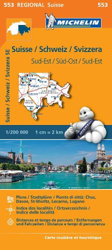 Suisse Sud-Est - Michelin Regional Map 553: Map - Michelin Regional Maps (Sheet map)