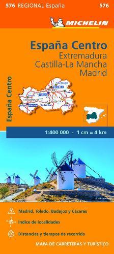 Extremadura, Castilla La Mancha, Madrid - Michelin Regional Map 576: Map - Michelin Regional Maps (Sheet map)