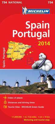 Spain and Portugal 2014 National Map 734 - Michelin National Maps 734 (Sheet map, folded)