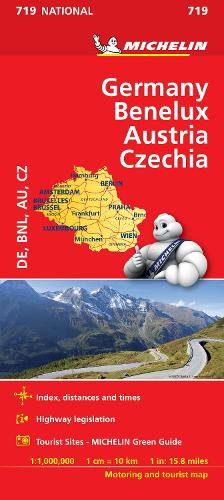 Germany, Benelux, Austria, Czech Republic - Michelin National Map 719: Map - Michelin National Maps (Sheet map)