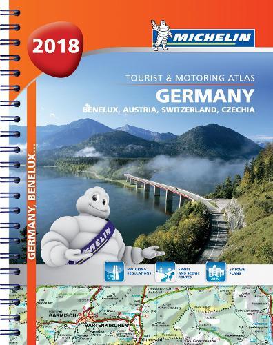 Germany, Benelux, Austria, Switzerland, Czech Republic 2018 - Tourist and Motoring Atlas (A4-Spiral) 2018 - Michelin Road Atlases (Spiral bound)