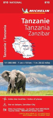 Tanzania & Zanzibar - Michelin National Map 810: Map - Michelin National Maps (Paperback)