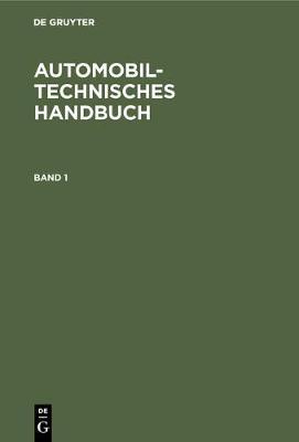 Automobiltechnisches Handbuch (Hardback)