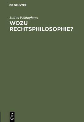 Wozu Rechtsphilosophie? (Hardback)