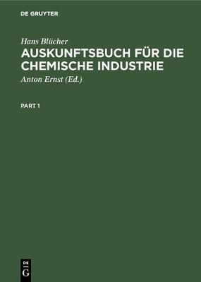 Auskunftsbuch F r Die Chemische Industrie (Hardback)
