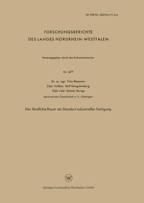 Der L ndliche Raum ALS Standort Industrieller Fertigung (Paperback)