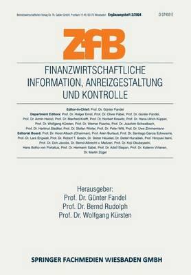 Finanzwirtschaftliche Information, Anreizgestaltung Und Kontrolle - Zfb Special Issue (Paperback)