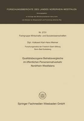 Qualitatsbezogene Betriebsvergleiche Im OEffentlichen Personennahverkehr Nordrhein-Westfalens (Paperback)