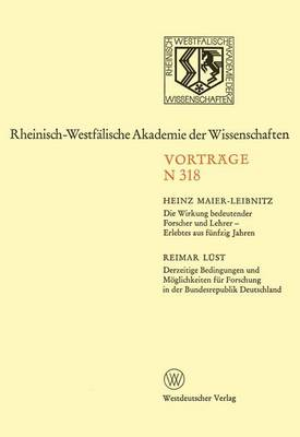 Die Wirkung Bedeutender Forscher und Lehrer - Erlebtes aus Funfzig Jahren (Paperback)