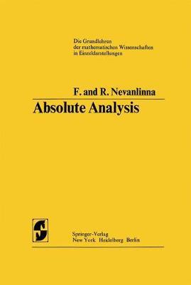 Absolute Analysis - Grundlehren der mathematischen Wissenschaften 102 (Hardback)