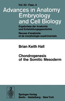 Chondrogenesis of the Somitic Mesoderm - Advances in Anatomy, Embryology and Cell Biology 53/4 (Paperback)