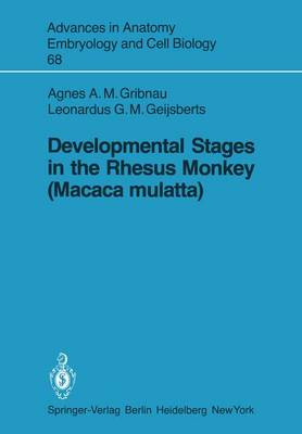 Developmental Stages in the Rhesus Monkey (Macaca mulatta) - Advances in Anatomy, Embryology and Cell Biology 68 (Paperback)