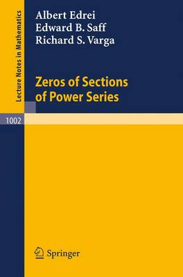 Zeros of Sections of Power Series - Lecture Notes in Mathematics 1002 (Paperback)