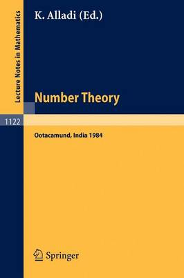 Number Theory: Proceedings of the 4th Matscience Conference held at Otacamund, India, January 5-10, 1984 - Lecture Notes in Mathematics 1122 (Paperback)
