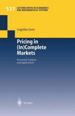 Pricing in (In)Complete Markets: Structural Analysis and Applications - Lecture Notes in Economics and Mathematical Systems 537 (Paperback)