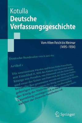 Einfuhrung in Die Deutsche Verfassungsgeschichte: Vom Alten Reich Bis Weimar (1495 Bis 1933) (Paperback)