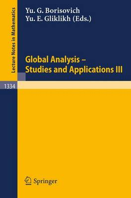Global Analysis. Studies and Applications III - Lecture Notes in Mathematics 1334 (Paperback)
