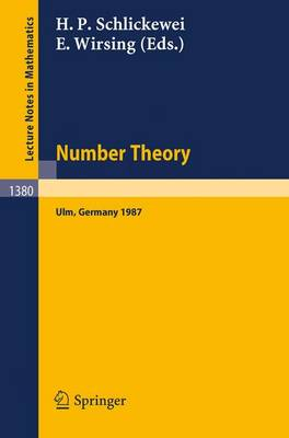 Number Theory: Proceedings of the Journees Arithmetiques Held in Ulm, Frg, September 14-18, 1987 - Lecture Notes in Mathematics No. 1380 (Paperback)