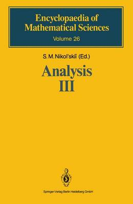 Analysis III: Spaces of Differentiable Functions - Encyclopaedia of Mathematical Sciences 26 (Hardback)