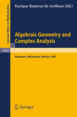 Algebraic Geometry and Complex Analysis: Proceedings of the Workshop held in Patzcuaro, Michoacan, Mexico, Aug. 10-14, 1987 - Lecture Notes in Mathematics 1414 (Paperback)