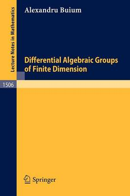 Differential Algebraic Groups of Finite Dimension - Lecture Notes in Mathematics 1506 (Paperback)
