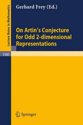 On Artin's Conjecture for Odd 2-dimensional Representations - Lecture Notes in Mathematics 1585 (Paperback)