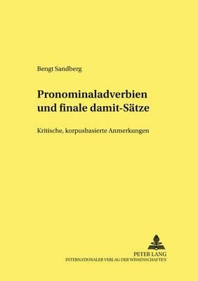 """Pronominaladverbien Und Finale """"damit""""-Saetze: Kritische, Korpusbasierte Anmerkungen - Germanistische Schlaglichter - Neue Folge 1 (Paperback)"""