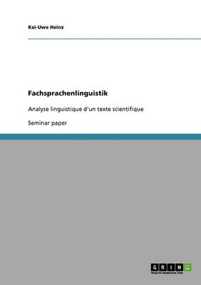 Fachsprachenlinguistik (Paperback)