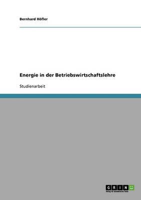 Energie in Der Betriebswirtschaftslehre (Paperback)