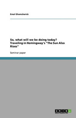 So, What Will We Be Doing Today? Traveling in Hemingway's 'The Sun Also Rises' (Paperback)