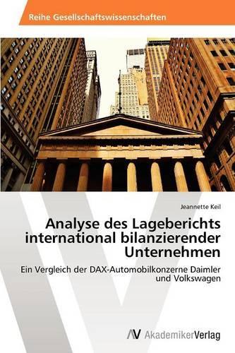 Analyse Des Lageberichts International Bilanzierender Unternehmen (Paperback)