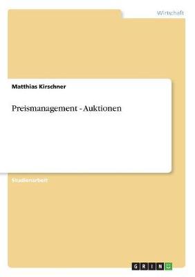 Preismanagement - Auktionen (Paperback)