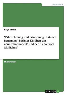 Wahrnehmung Und Erinnerung in Walter Benjamins Berliner Kindheit Um Neunzehnhundert Und Der Lehre Vom Ahnlichen (Paperback)