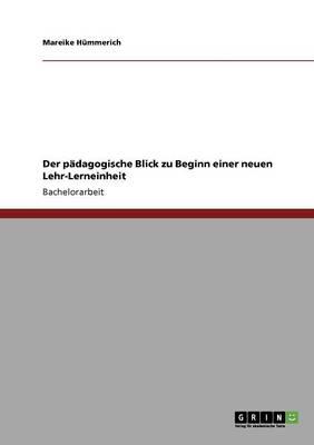 Der Padagogische Blick Zu Beginn Einer Neuen Lehr-Lerneinheit (Paperback)