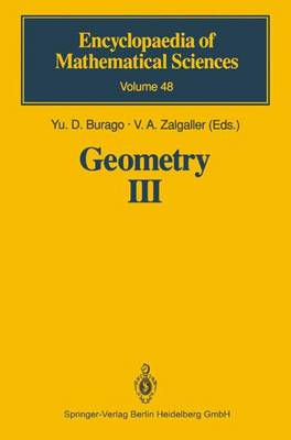 Geometry III: Theory of Surfaces - Encyclopaedia of Mathematical Sciences 48 (Paperback)